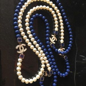 AUTHENTIC Chanel CC logo blue and white necklace